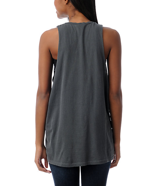 Obey Party Skull Charcoal Cut Off Tank Top