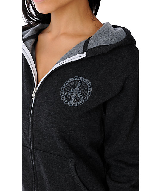 Obey Peace Bomber Heather Charcoal Hoodie