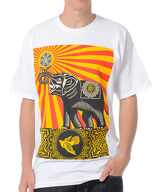 Obey Peace Elephant White T-Shirt