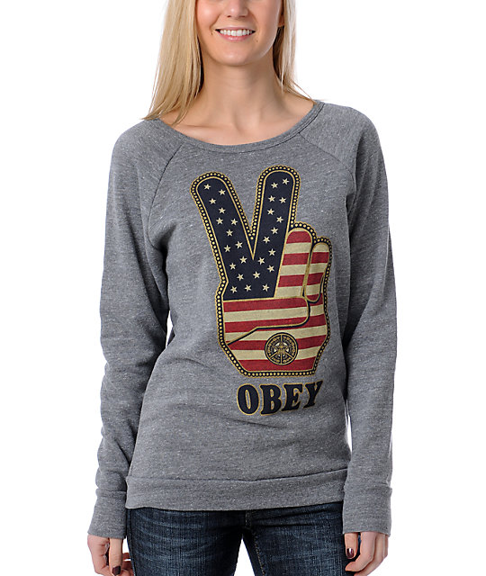 Obey Peace Fingers Heather Grey Sweatshirt