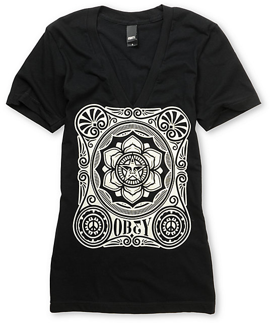 Obey Peace Poster Black V-Neck T-Shirt