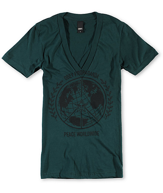 Obey Peace Worldwide Green Deep V-Neck T-Shirt