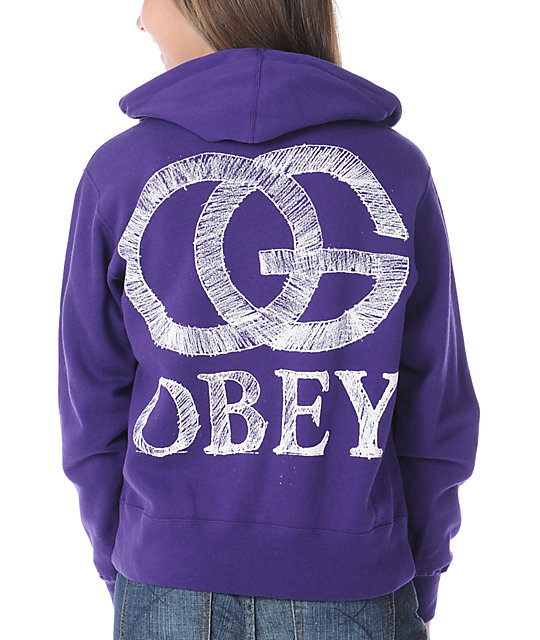 Obey Pencil OG Purple Zip Up Hoodie