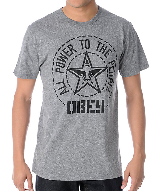 Obey Peoples Seal Heather Grey T-Shirt