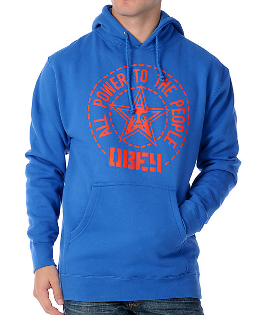 Obey Peoples Seal Mens Blue Pullover Hoodie