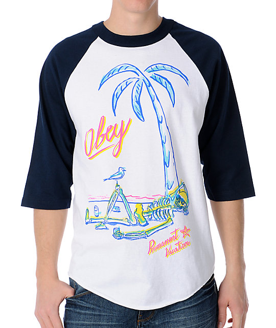 Obey Permanent Vacation White & Navy Baseball T-Shirt