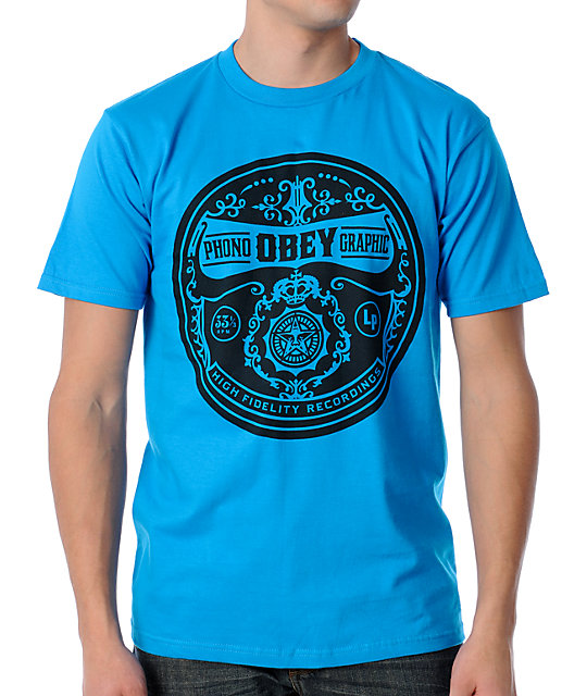 Obey Phonographic Turqoise T-Shirt