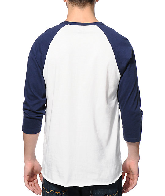 Obey Playoff White & Navy Henley Baseball T-Shirt