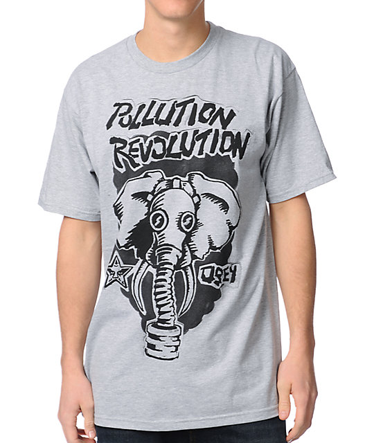 Obey Pollution Revolution Heather Grey T-Shirt