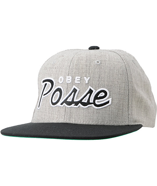 f932cb40451 Obey Posse Heather Grey Snapback Hat