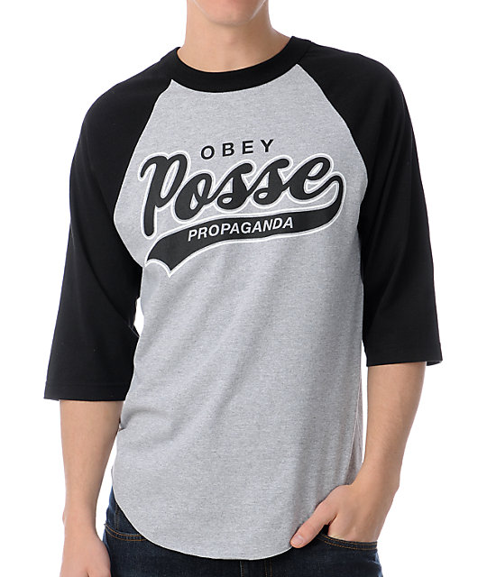 Obey Posse Script 2 Grey & Black Baseball T-Shirt