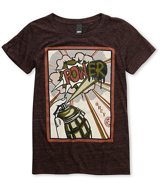 Obey Power Burgundy Red Triblend T-Shirt