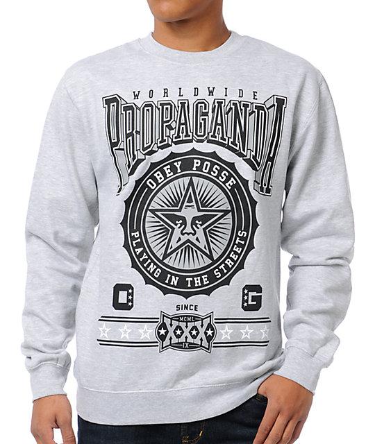 9937771b0 Obey Pro Bowl Grey Crew Neck Sweatshirt