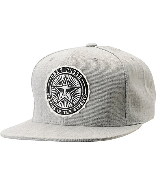 40ad8878864 Obey Pro Bowl Heather Grey Snapback Hat