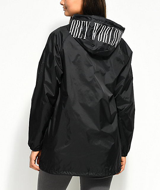Obey Proof Type Black Hooded  Coaches Jacket