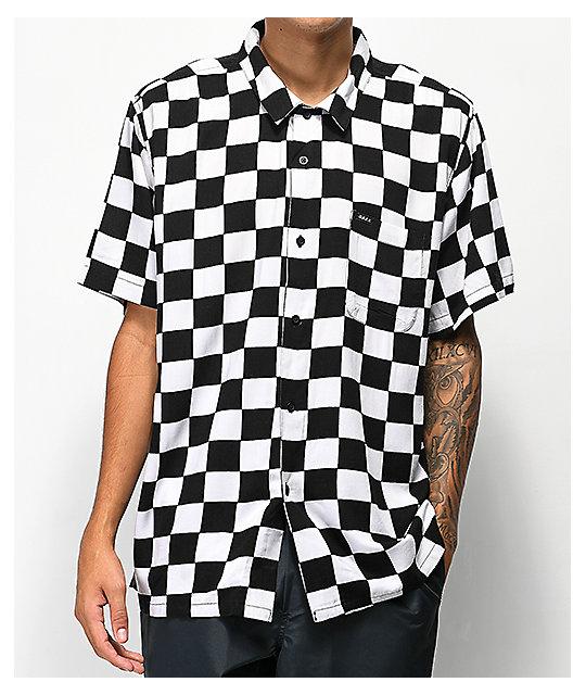 4e4043fcdb6 Obey Prospect Black   White Checkered Woven Button Up Shirt