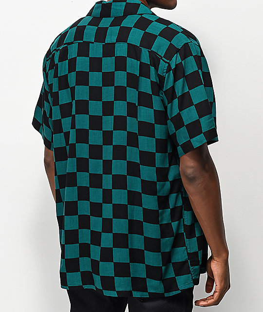 Obey Prospect Teal & Black Woven Shirt