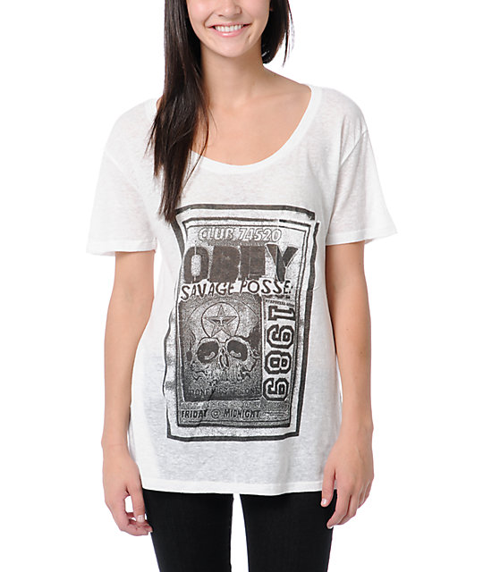 Obey Punk Flyer White Nubby Throwback T-Shirt