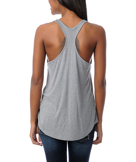 Obey Push Peace Heather Grey Mock Twist Tank Top
