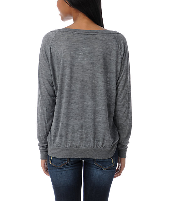 Obey Pyramid Stone Heather Grey Raglan Top