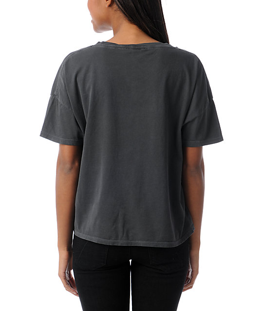 Obey Radio Charcoal Grey Crop T-Shirt