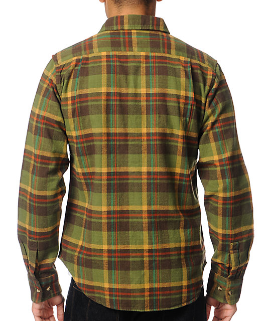 Obey Raymond Olive Plaid Flannel Button Up Shirt
