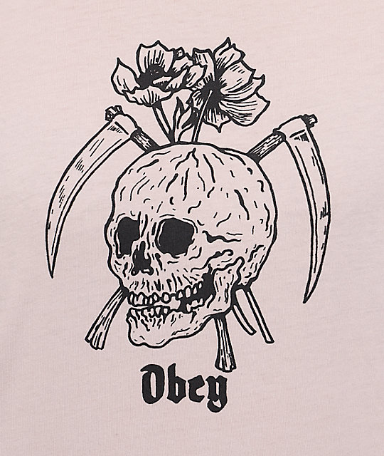 Obey Reaper Skull Dusty Rose T-Shirt