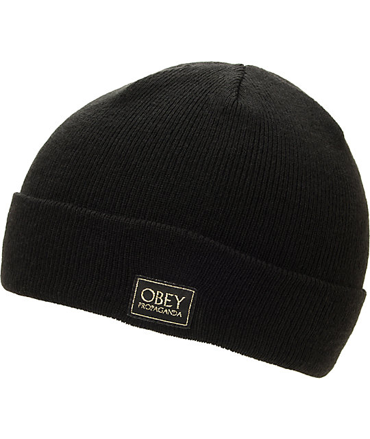 Obey Rebel Black Cuff Beanie