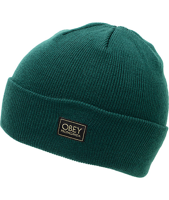 Obey Rebel Forrest Green Cuff Beanie