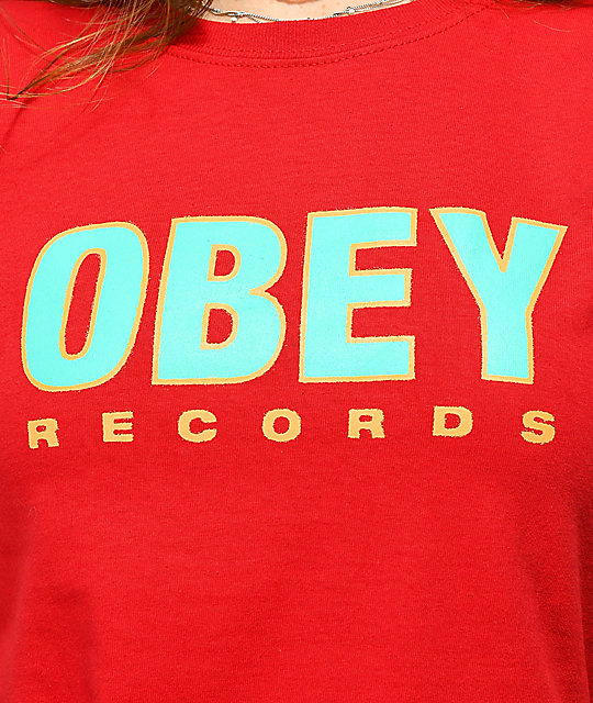 Obey Records 2 Shrunken Red T-Shirt