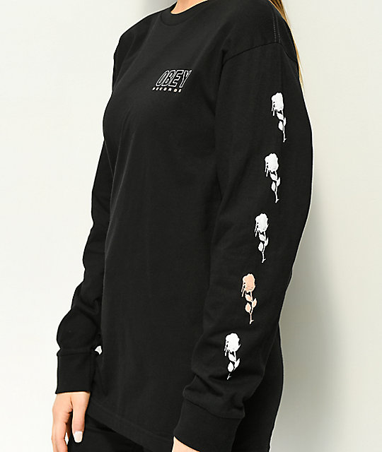 Obey Records Black Long Sleeve T-Shirt