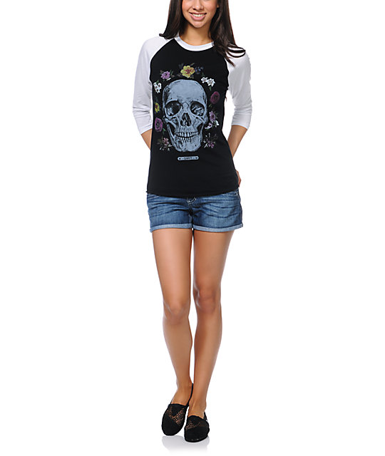 Obey Reincarnation Black & White Baseball Tee