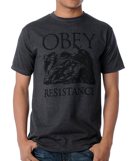 Obey Resistance Charcoal Grey T-Shirt