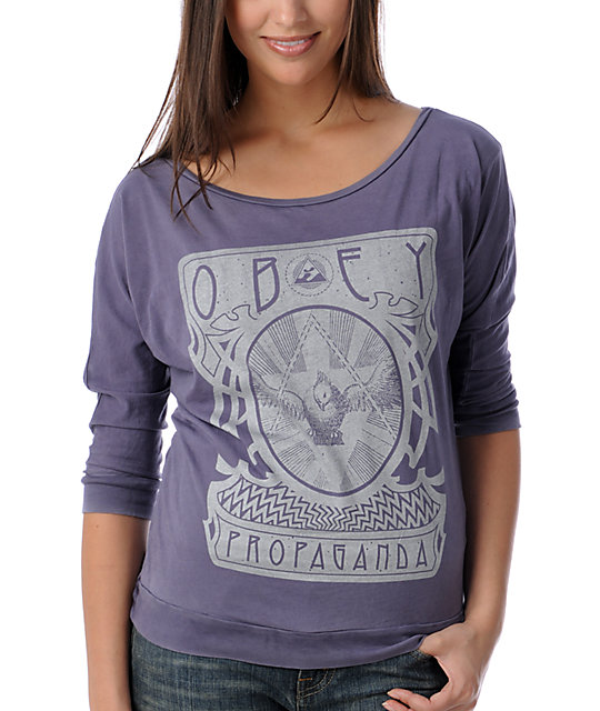 Obey Rising Washed Dolman Grey Top