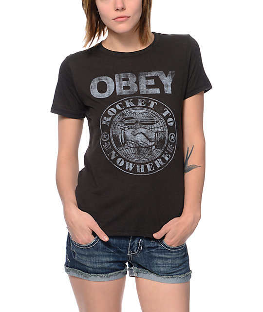 Obey Rocket To Nowhere Black Back Alley T-Shirt