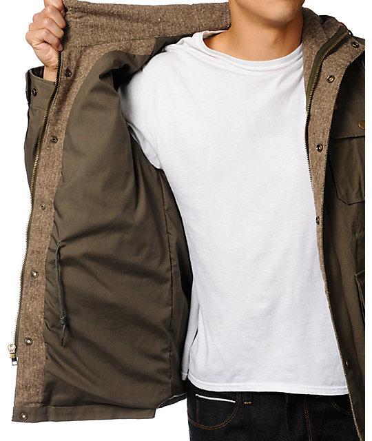 Obey Rocky Army Green Hooded Workwear Jacket