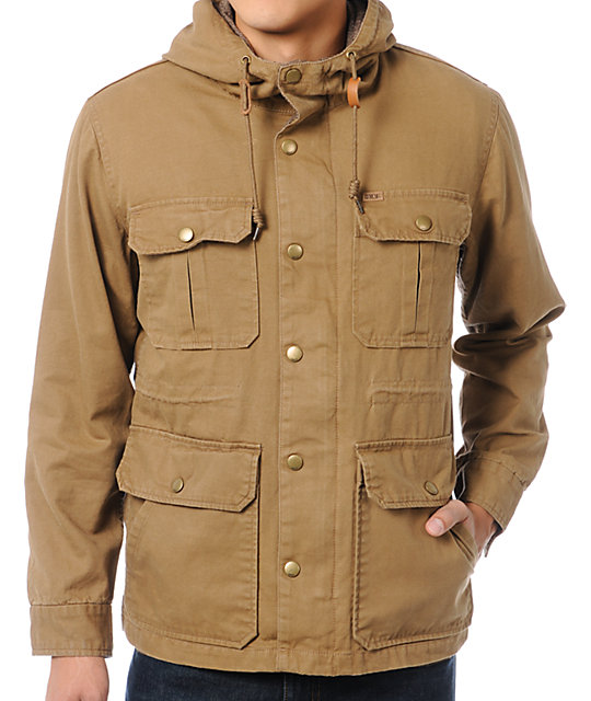 Obey Rocky Tan Hooded Workwear Jacket