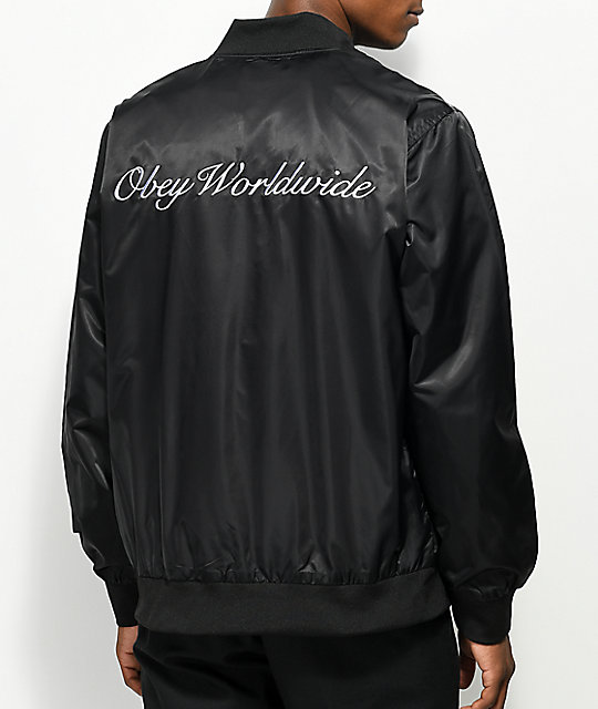 Obey Roller Black Satin Bomber Jacket