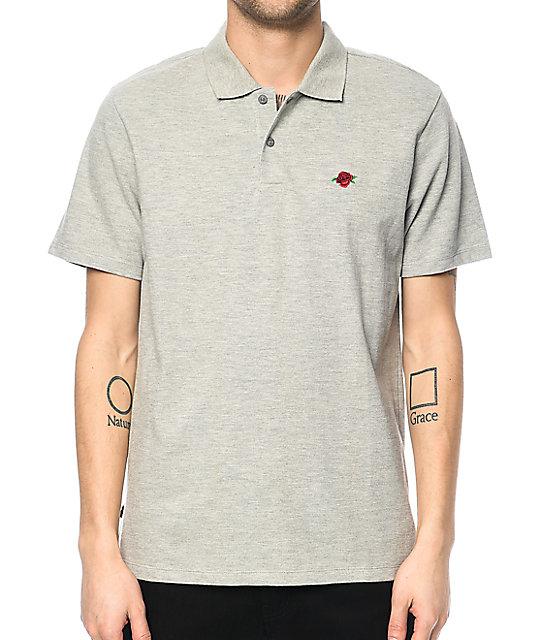 b1a1fbfa Obey Rose Heather Grey Polo T-Shirt | Zumiez