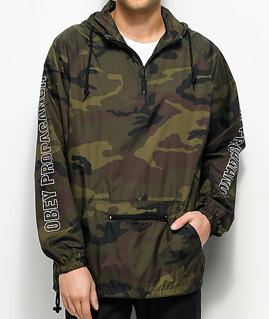 Obey Rough Draft Camo Anorak Windbreaker Jacket