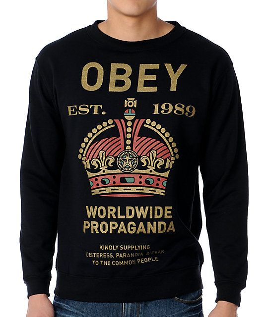 Obey Royal Mandate Black Crew Neck Sweatshirt
