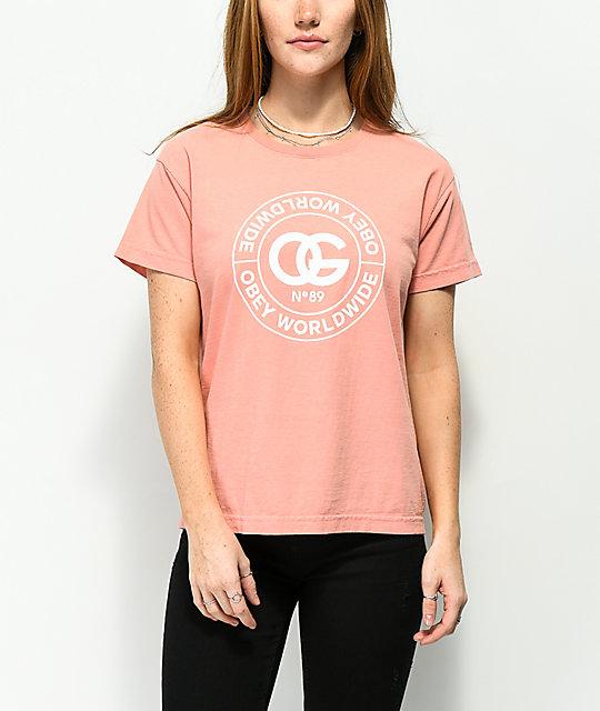 Obey Rue De La Ruine Box Coral T-Shirt  53e2b4b1e70