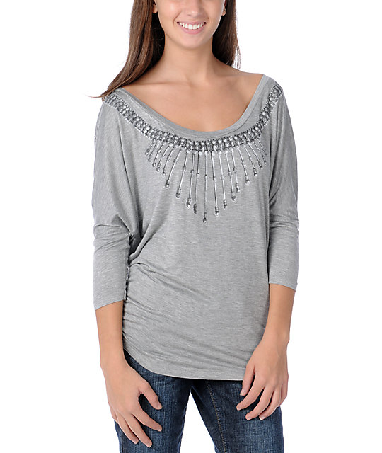 Obey Safari Grey Wide Neck Dolman Top