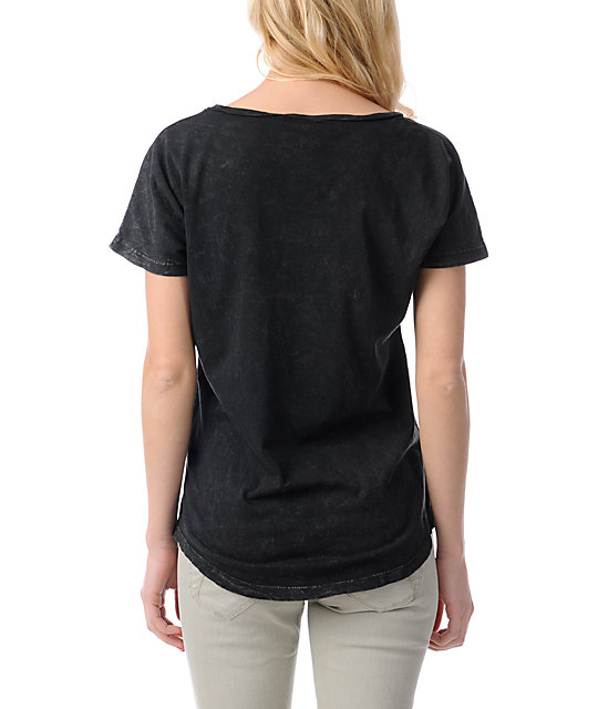 Obey Salem Spring Black Mineral Wash Dolman T-Shirt