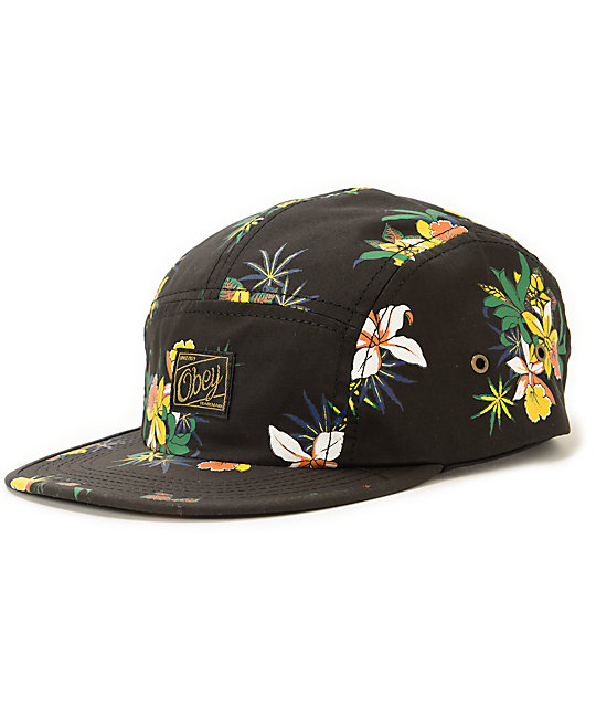 dc072f6ac7d Obey Sativa Black Floral 5 Panel Hat