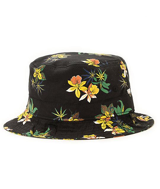 19f33fefcf864 Obey Sativa Black Floral Bucket Hat