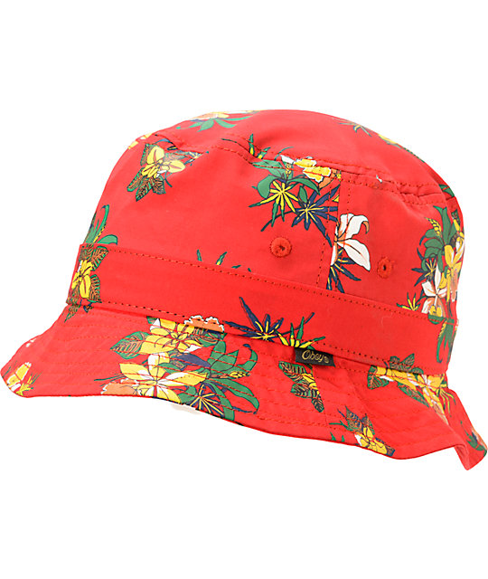 dab737d15e367 Obey Sativa Floral Red Bucket Hat