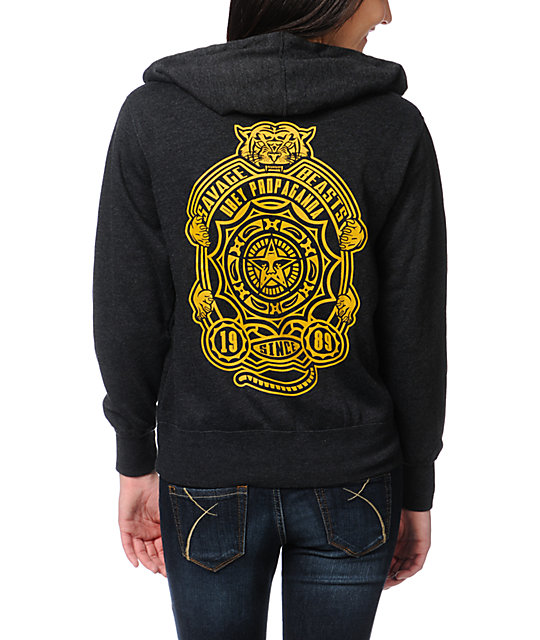 Obey Savage Beast Charcoal Grey Zip Up Hoodie