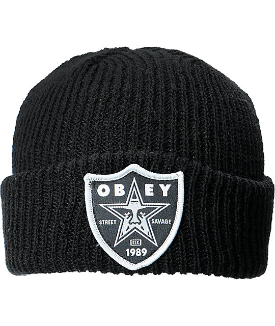 Obey Savage Black Cuff Beanie