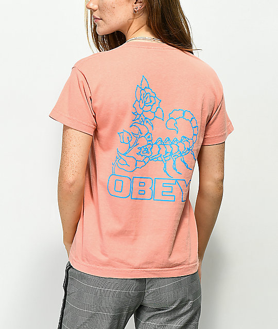 Obey Scorpion Rose Box Coral T-Shirt